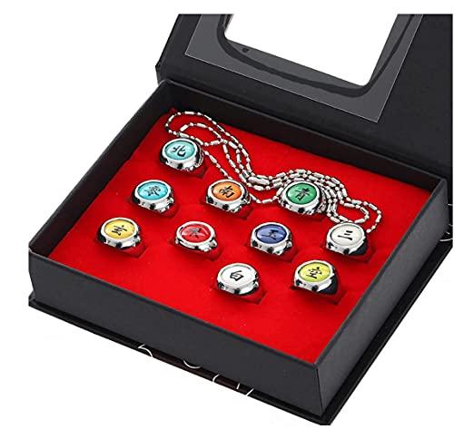 11 PCS Anime Rings Akatsuki Rings Costume Cosplay Prop Akatsuki Rings Set Cosplay Accessories With Necklace Anime Ring