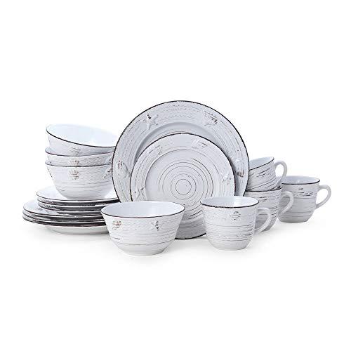 Pfaltzgraff Trellis Coastal 16-Piece Dinnerware Set, white