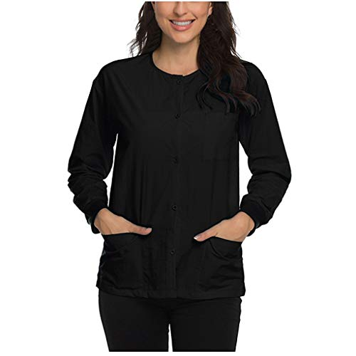Best Review Of FD Izmn Women Long Sleeve O-Neck Nursing Uniform Blouse Tops Jacket with Pocket Butto...