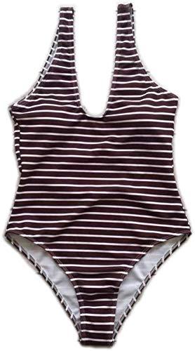 Vrouwen uit een stuk badpak Sexy backless gestreepte bikini Geschikt for strand en zwembad badmode, Maat: S, Kleur: Pink (Color : Brown, Size : S)
