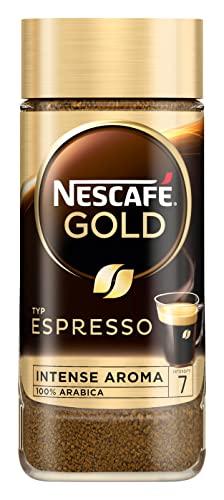 NESCAFÉ Złoty typ ESPRESSO, wysokiej jakości espresso Instant ze 100% delikatnymi ziarnami kawy Arabica, zawiera kofeinę, z aksamitną kremą, 1 opakowanie (1 x 100 g)