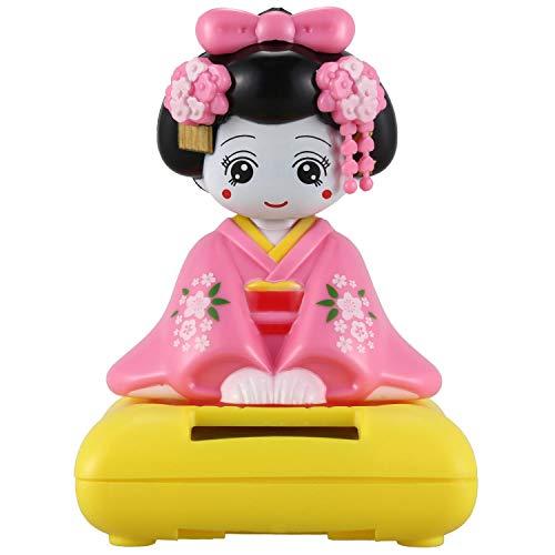 Noblik Solar Betriebene Bobble Kopf Spielzeug Figur, Japanischer Kimono Maiko Geisha - Rosa