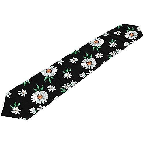 sunnee-shop madeliefjes-bloemen-print op zwarte tafelloper 13 x 90 inch tafelloper voor modern en stijlvol
