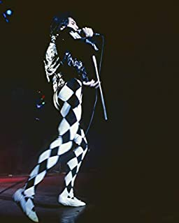 Queen Freddie Mercury Black and White Checkerboard Outfit in Concert 16x20 Canvas
