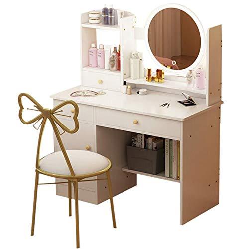LIYIN Dresser Tabla Dormitorio de Maquillaje con Espejo 3 del Color de iluminación Modos, la Mariposa Respaldo Silla, de Madera Moderno tocador para niñas Regalo,Blanco