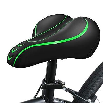 Yoleo Bike Seat Comfortable Gel Bicycle Seat Memory Foam Waterproof Bicycle Saddle, Dual Shock Absorbing Ball Universal Replacement for Men Women/Indoor-Outdoor (Green)