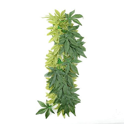 Minnya reptiele wijnstok, kunststof, vervalste hangende bladeren, groene simulatieinstallatie, reptiel, terrarium, woonruimte, decoratie, aquarium, aquarium, ornament met een stofzuiger, 50 cm.