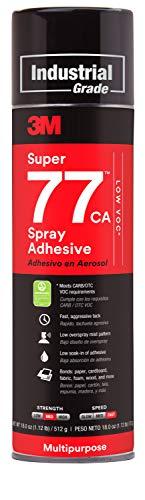 3M Super 77 Multipurpose Permanent Spray Adhesive Glue, Low VOC, Paper, Cardboard, Fabric, Plastic, Metal, Wood, Net Wt 18 oz