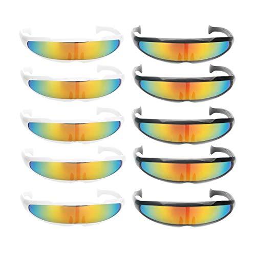 Hellery 8Pack Neuheit Futuristisch Verspiegelte Sonnenbrille Party Cosplay Kostü