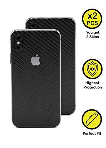 Normout iPhone X Skin Schutzfolie Rückseite Carbon Schwarz - 2X iPhone X Backcover Glas Folie, inklusive 2X iPhone X Kamera Folie -Schützt vor Kratzern, Beschädigungen, Schmutz & Fingerabdrücken