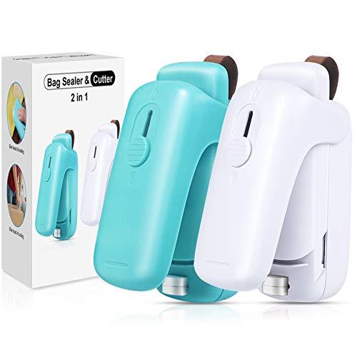 EZCO 2Pack Bag Sealer Mini Handheld Bag Heat Vacuum Sealer 2 in 1 Heat Sealer amp Cutter Portable Bag Resealer Machine Food Saver for Plastic Bags Storage Snack Cookies Fresh Battery Included