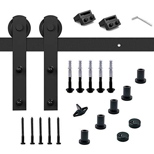 Trintion Schiebetür verstellbare Schiebetürsystem Set 200cm Laufschienen Hängeschiene Zubehörteil mit Schwarz plattierten Elektrotauchlacken