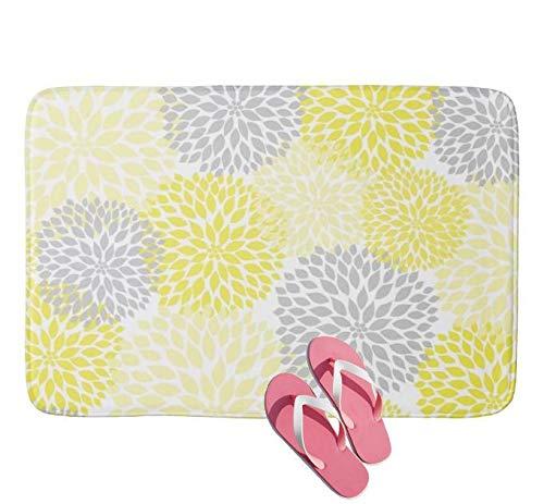 Yang Standard Flauschiger Badteppich (45 x 75 cm) rutschfeste Duschvorleger, Badewanneneinlage, saugfähig, Gelb/Grau Dahlien Blumen Blumen Badezimmer Badteppich