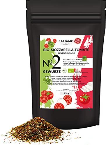250g BIO Tomate Mozzarella Gewürzmischung, geeignet auch für Caprese, Tomatensalat, Quark Dip, Bruschetta, Tomatensuppe und Nudelsaucen