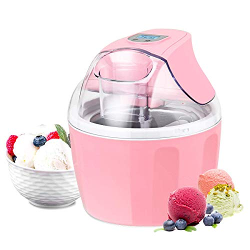 Costway Ice Cream Maker 1.5 Quart Automatic Macarons Color Ice Cream Machine, custard Frozen Yogurt Sorbet Gelato Machine with Auto Shut Off Timer, LCD Display and Mixing Paddle for Soft Serve Dessert(Pink)