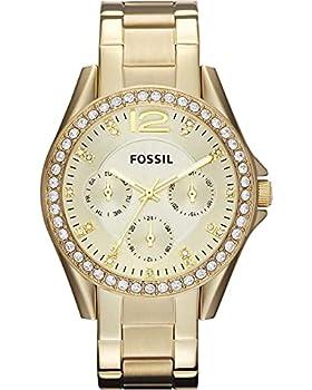 Fossil Women s Riley Quartz Stainless Steel Multifunction Watch Color  Gold Glitz  Model  ES3203