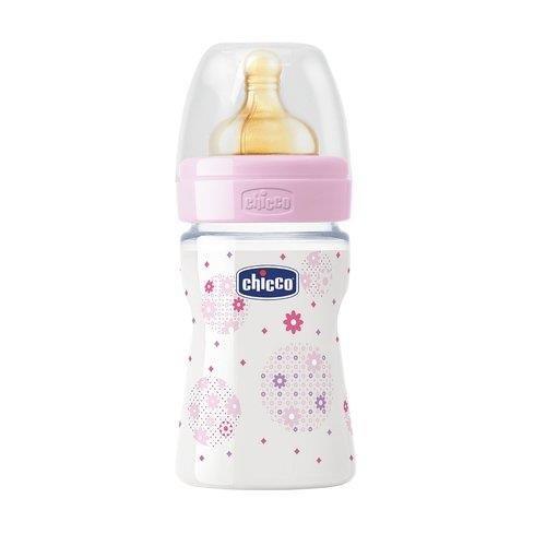 Chicco Babyfläschchen Wohlbefinden, 2m+ Kautschuk, 1 Schlitz regulierbarer Sauger, Girl, 250 ml