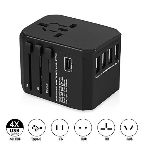 AILUKI reisadapter reisstekker stopcontact adapter stroomadapter met 4 USB opladen reisstekker universeel inzetbaar voor 150 landen bijv. Europa USA Australian UK enz. zwart