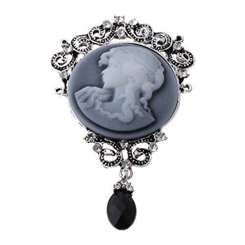 MISHITI Elegante Mujer Dama Joyería Antiguo Vintage Victoriano Cameo Broche Pin Colgante