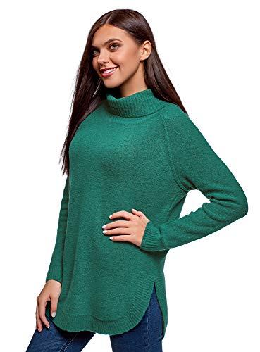 oodji Collection Mujer Jersey Largo con Cuello Voluminoso, Verde, ES 36 / XS