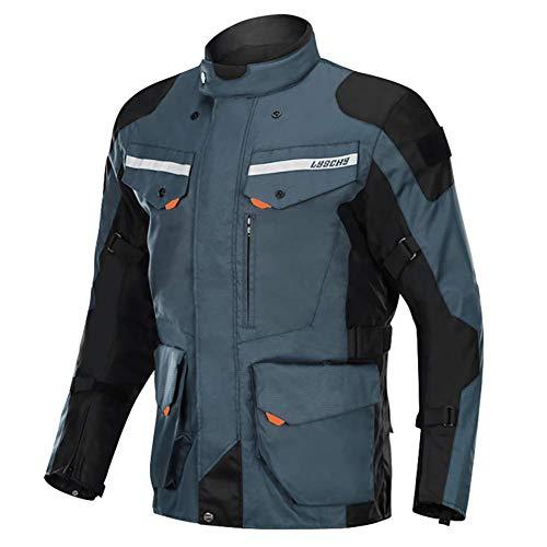 LALEO Textil Motorradjacke, Multifunktional Unisex Groß Vier Jahreszeiten Herausnehmbares Futter Wasserdicht Winddicht mit Protektoren und Reflektoren,Blau,5XL