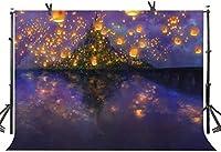 Zhyおとぎ話の城の背景7X5FTパーティーロングヘアプリンセスナイト美しいランタンガール誕生の背景写真用輝く誕生日装飾ケーキテーブルバナー写真ブース小道具