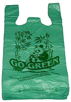 "Go Green Bamboo Biodegradable Eco-friendly Reusable Plastic T-Shirt Bags Handles Shopping (11.5""x6.5""x21.5""-14mic) (400)"