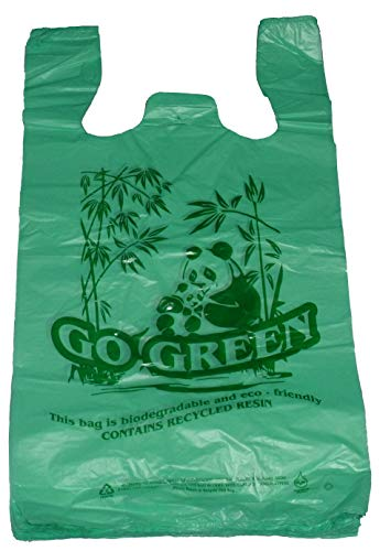 Go Green Bamboo Biodegradable Eco-friendly Reusable Plastic T-Shirt Bags Handles Shopping (11.5'x6.5'x21.5'-14mic) (200)