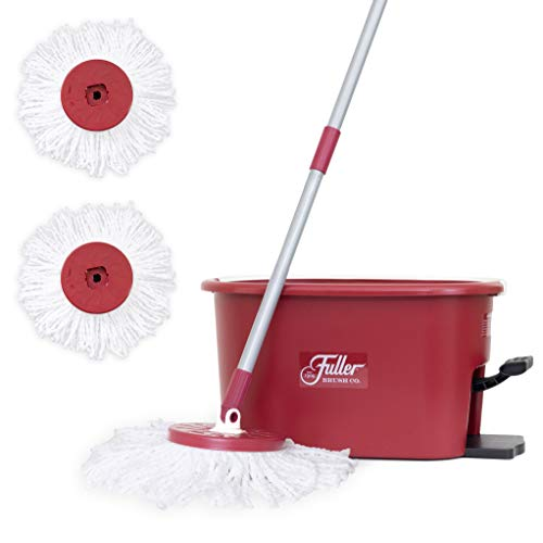 Fuller Brush Spin Mop Exclusive Bucket System - Easy Wring, 360° Spin - Streak Free Floor Cleaning - Ruby Red (2 Extra Refill Mop Heads)