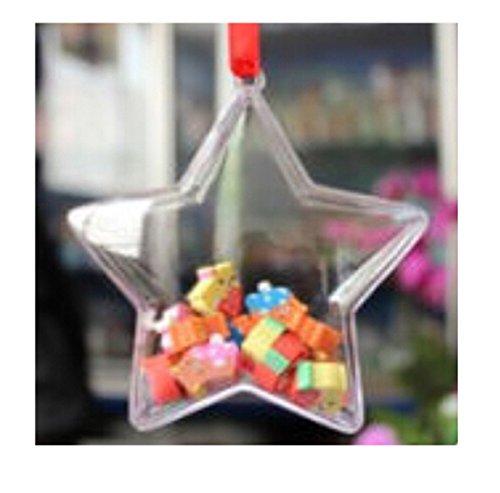 Lalang 5pcs Boule de Noël Boule de Décoration Transparent Fillable Boule Ornament Noël en Plastique Décorations de Noël (100mm)