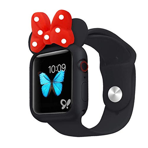 Nenis Cartoon Soft Silicone Protective Frame Anti-Scratch Cover| Case Mouse Ears Compatible with Apple Watch Series 6, Series 5 and Series 4 (Black - Red, 40mm)