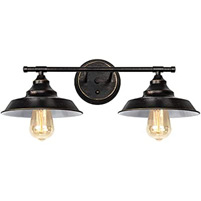HAITRAL Bronze Bathroom Light Fixture- Vanity Light Fixtures with 2-Light Farmhouse Sconce, Industrial Wall Light Fixture for Bathroom Kitchen Farmhouse Living Room Indoor-Bronze (Without Bulb) …