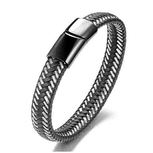 GMZPP roestvrij stalen ketting armbanden van echt leer heren vintage trenchcoat herensieraad zwart