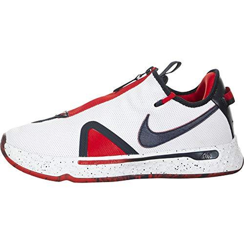 Nike x Paul George 4 Basketball-Schuhe Bequeme Sport-Schuhe Trainings-Schuhe Hallen-Schuhe Schwarz/Weiß/Rot, Größe:43