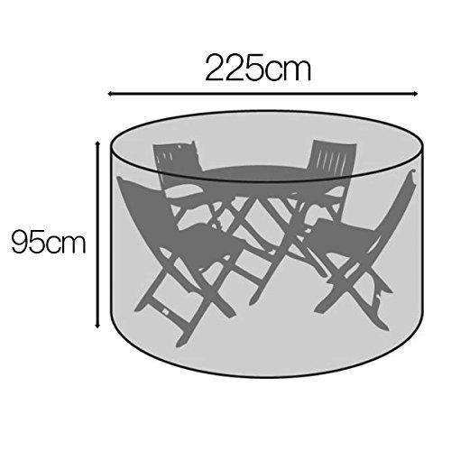 Rund Gartenmöbel Abdeckung Wasserdicht Abdeckhaube für Tisch Stühle (225x95cm) - 2