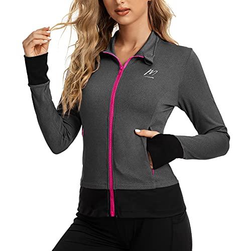 MeetHoo Damen Sportjacke, Laufjacke Langarm Trainingsjacke mit Daumenloch Voll Reißverschluss Sweatjacke für Yoga Gym Fitness