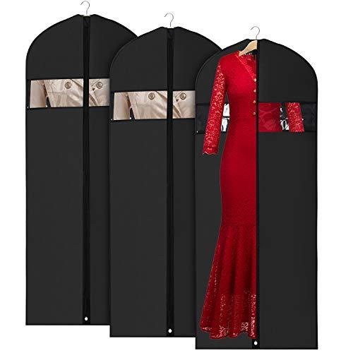 Oxford Stoff Kleidersack kleiderhülle Abdeckungen 150cm für Lagerung und Reise, Anti-Motten-Schutz, faltbar waschbar für langes Kleid Tanzkostüme Business Anzüge Kleider Mäntel (150cm/3pcs)