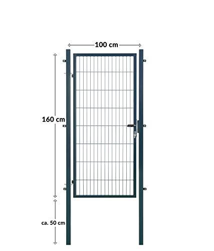 Koll Living Gartentore für Stabmattenzaun - Farbe und Höhe wählbar - inkl. Pfosten und Befestigungsmaterial (Gartentor H 160 x B 100 cm, anthrazit)