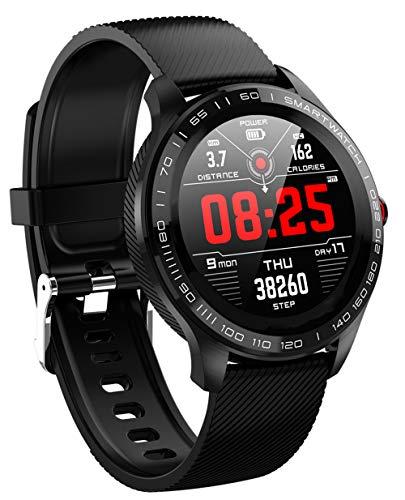 Smartwatch IP68 Wasserdicht Intelligente Uhren Pulsmesser Schlafmonitor Blutdruckmessung FULL Touchscreen Smart Watch für Herren Damen Running Schrittzähler Sports für iOS und Android(Schwarz)