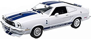 1976 Jill Munroe's Ford Mustang II Cobra II, White w/ Blue Stripes - Greenlight Charlie's Angels 12880 - 1/18 Scale Diecast Model Toy Car by Greenlight