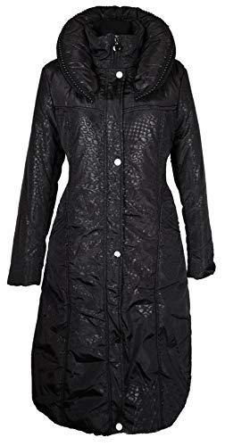 Italy Donna Damen Lang Wintermantel Ballon Mantel Steppmantel Parka Trench Coat Schwarz 36 38 40 42 44 46 48 50 52 54 M L XL XXL 3XL warm Jacke (42)