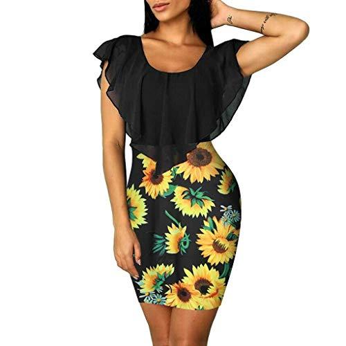 iYmitz Damen Abendkleidärmellose Sonnenblume Gedruckt Figurbetontes Urlaubsparty Elegant Kurzes Minikleid