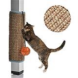 ZHER-LU Alfombrilla Rascador para gatos y gatos, para arañar la pared, con patas de mesa, para arañar, juguetes para jugar con campanilla (Sisal)