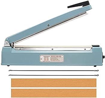 VOTOER 16 inch Manual Impulse Bag Hand Heat Sealer Machine Bag Sealer Heat Sealing Closer Tool Poly Tubing Plastic Bag 2 Free Replacement Kit