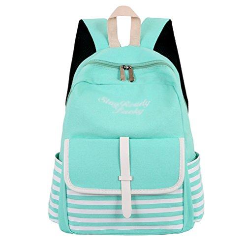 Xinwcang Canvas Streifen Rucksack für Damen Herren Lässige Universität Schulrucksäcke Notebook Laptop Daypacks Backpack Grün
