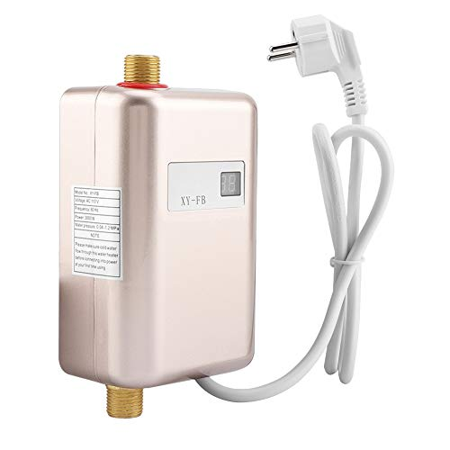 220 V 3400 W Mini Calentador De Agua Eléctrico Sin Tanque Calefacción Instantánea De Agua Caliente Ducha Sistema De Agua Caliente para Baño Cocina Lavado Rojo UE(Dorado)