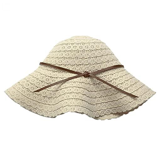 Ruluti 1pc del Hueco del Cordón del Borde Grande Sombreros De Mujeres De Primavera Y Verano Ocio Pescador Sombrero Plegable De Viaje Protector Solar Sombreros De La Playa