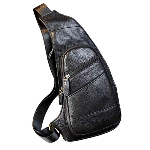 Leather Sling Bag Crossbody Backpack for Men Women Travel Outdoor Business Hiking Camping Shoulder Chest Day Pack Casual Daypack