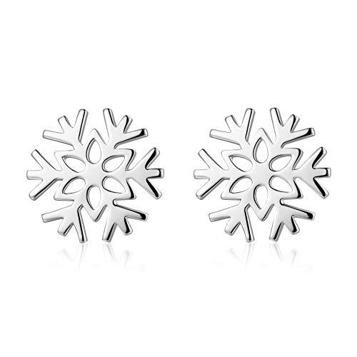 jiamiaoi - Orecchini a forma di fiocco di neve, in argento Sterling, con fiocco di neve, con ciondolo a forma di fiocco di neve e Argento, colore: Bottone bianco, cod. E072 STUD