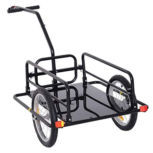 Review Folding Bike Cargo Trailer Cart with Seat Post Hitch- Black with Ebook